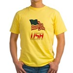 Waving US flag e2 Yellow T-Shirt