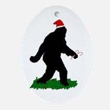 Christmas Squatchin Ornament (Oval)