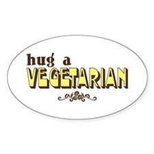 Hug A Vegetarian Oval Decal