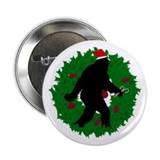 "Sasquatch Christmas Wreath 2.25"" Button"