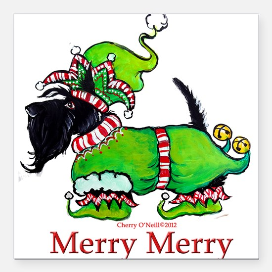 Merry Merry Scottish Terrier Square Car Magnet 3""