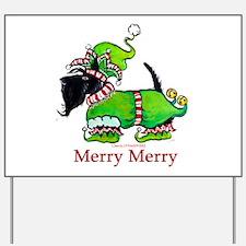 Merry Merry Scottish Terrier Yard Sign