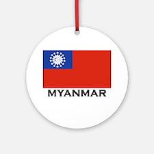Myanmar Flag Stuff Ornament (Round)