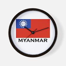 Myanmar Flag Stuff Wall Clock