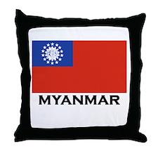 Myanmar Flag Stuff Throw Pillow