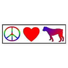 Peace, Love, American Bulldog Bumper Bumper Sticker