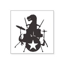 """T-Rex Playing the Drums Square Sticker 3"""" x 3"""""""