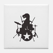 T-Rex Playing the Drums Tile Coaster