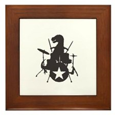 T-Rex Playing the Drums Framed Tile