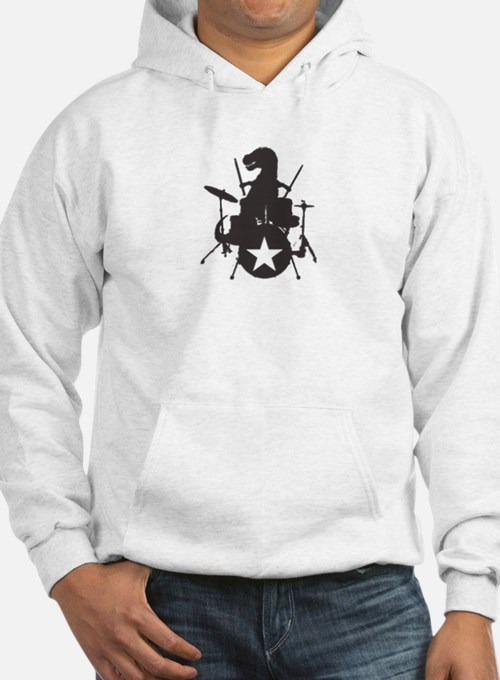 T-Rex Playing the Drums Hoodie