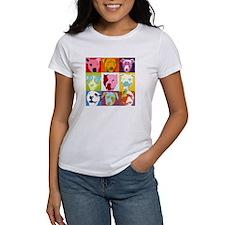 Pop Art Pit Bulls Ash Grey T-Shirt T-Shirt