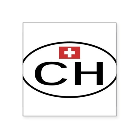 "CH Switzerland.png Square Sticker 3"" x 3"""
