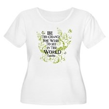 Be the Change - Green Vine - White T-Shirt