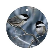 Chickadee birds Ornament (Round)