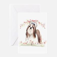 Shih Tzu Flowers Greeting Card