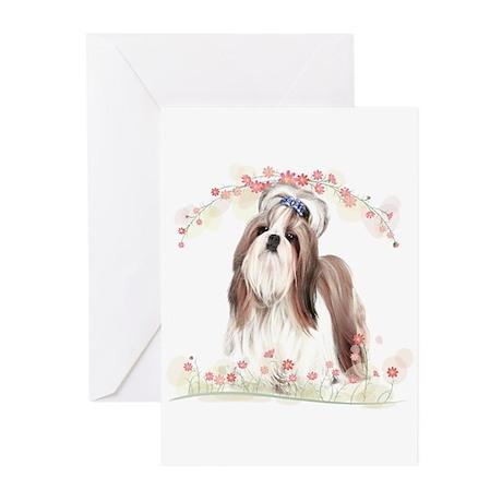 Shih Tzu Flowers Greeting Cards (Pk of 10)