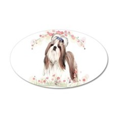 Shih Tzu Flowers Wall Decal