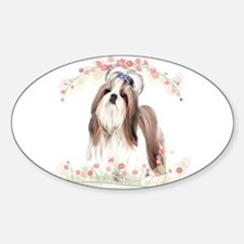Shih Tzu Flowers Sticker (Oval)