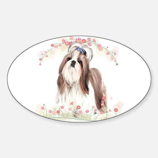 Shih Tzu Flowers Sticker (Oval)