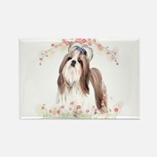 Shih Tzu Flowers Rectangle Magnet