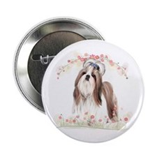 "Shih Tzu Flowers 2.25"" Button (10 pack)"