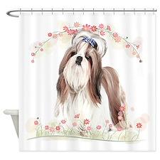 Shih Tzu Flowers Shower Curtain