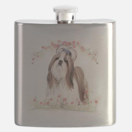 Shih Tzu Flowers Flask
