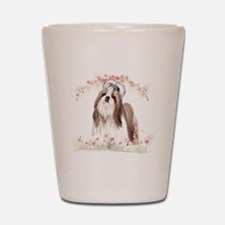 Shih Tzu Flowers Shot Glass
