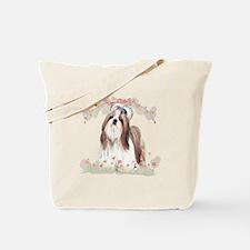 Shih Tzu Flowers Tote Bag