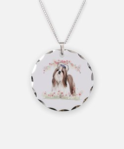 Shih Tzu Flowers Necklace