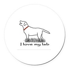 Love My Lab Round Car Magnet