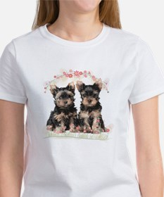 Yorkie Flowers Women's T-Shirt