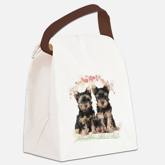 Yorkie Flowers Canvas Lunch Bag