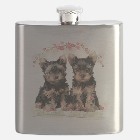 Yorkie Flowers Flask