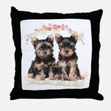 Yorkie Flowers Throw Pillow