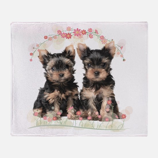 Yorkie Flowers Throw Blanket