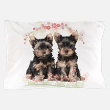 Yorkie Flowers Pillow Case