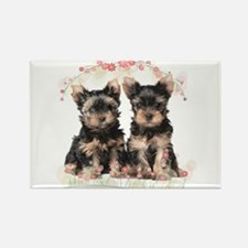 Yorkie Flowers Rectangle Magnet (100 pack)