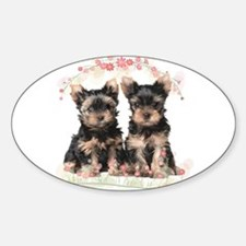 Yorkie Flowers Decal