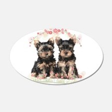 Yorkie Flowers Wall Decal