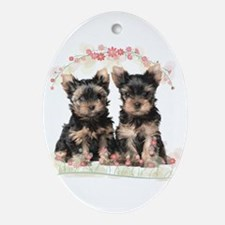 Yorkie Flowers Ornament (Oval)