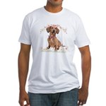 Dachshund Flowers Fitted T-Shirt