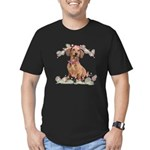 Dachshund Flowers Men's Fitted T-Shirt (dark)
