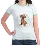Dachshund Flowers Jr. Ringer T-Shirt