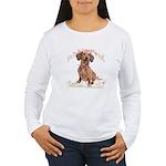 Dachshund Flowers Women's Long Sleeve T-Shirt