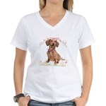 Dachshund Flowers Women's V-Neck T-Shirt