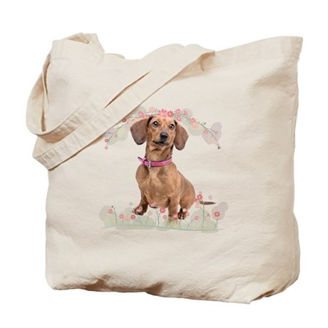 Dachshund Flowers Tote Bag