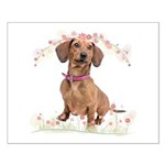Dachshund Flowers Small Poster