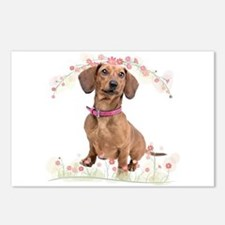 Dachshund Flowers Postcards (Package of 8)