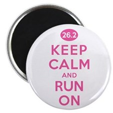 Keep Calm and Run On 26.2 Pink Magnet